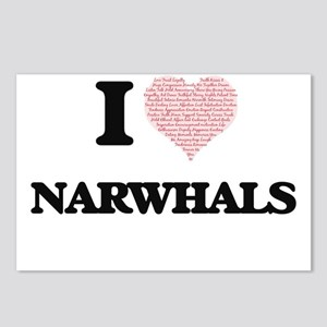 I love Narwhals (Heart Ma Postcards (Package of 8)
