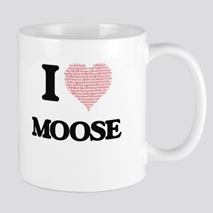 I love Moose (Heart Made from Words) Mugs