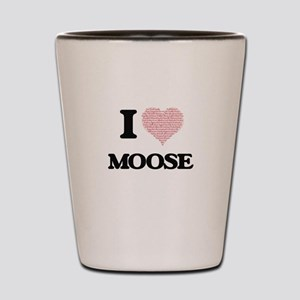 I love Moose (Heart Made from Words) Shot Glass