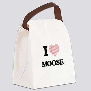 I love Moose (Heart Made from Wor Canvas Lunch Bag