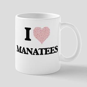 I love Manatees (Heart Made from Words) Mugs