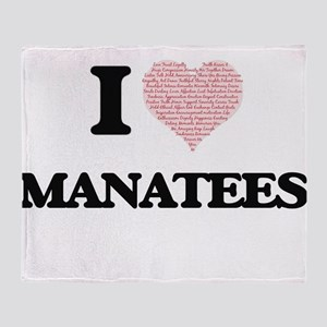 I love Manatees (Heart Made from Wor Throw Blanket