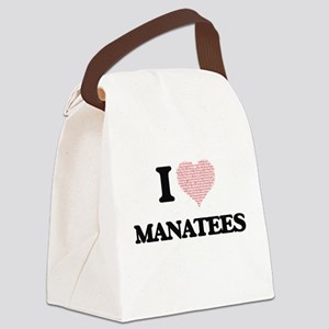 I love Manatees (Heart Made from Canvas Lunch Bag