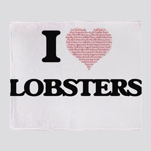 I love Lobsters (Heart Made from Wor Throw Blanket