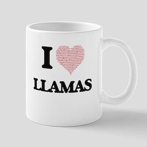 I love Llamas (Heart Made from Words) Mugs