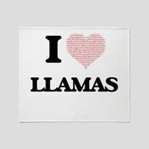 I love Llamas (Heart Made from Words Throw Blanket