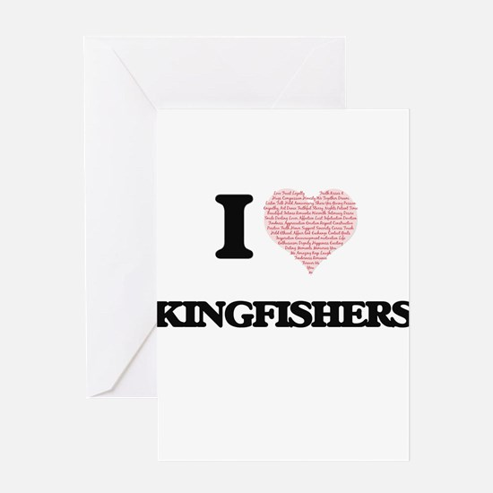 I love Kingfishers (Heart Made from Greeting Cards