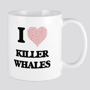 I love Killer Whales (Heart Made from Words) Mugs