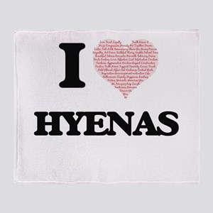 I love Hyenas (Heart Made from Words Throw Blanket