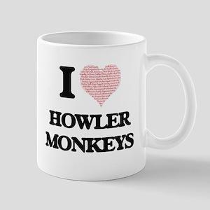 I love Howler Monkeys (Heart Made from Words) Mugs