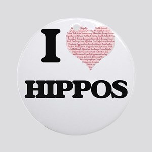 I love Hippos (Heart Made from Word Round Ornament