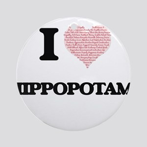 I love Hippopotami (Heart Made from Round Ornament