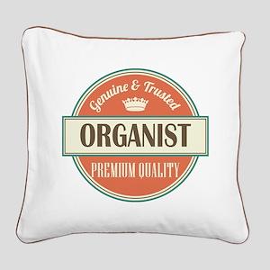 organist vintage logo Square Canvas Pillow