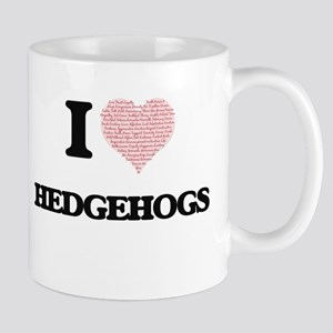 I love Hedgehogs (Heart Made from Words) Mugs