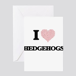 I love Hedgehogs (Heart Made from W Greeting Cards