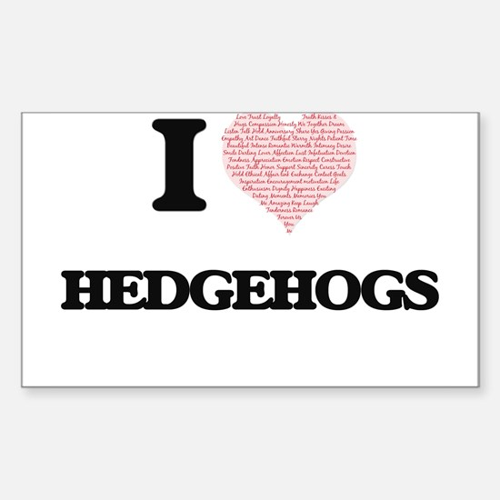 I love Hedgehogs (Heart Made from Words) Decal