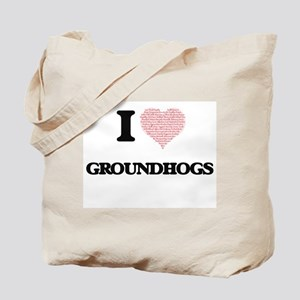 I love Groundhogs (Heart Made from Words) Tote Bag