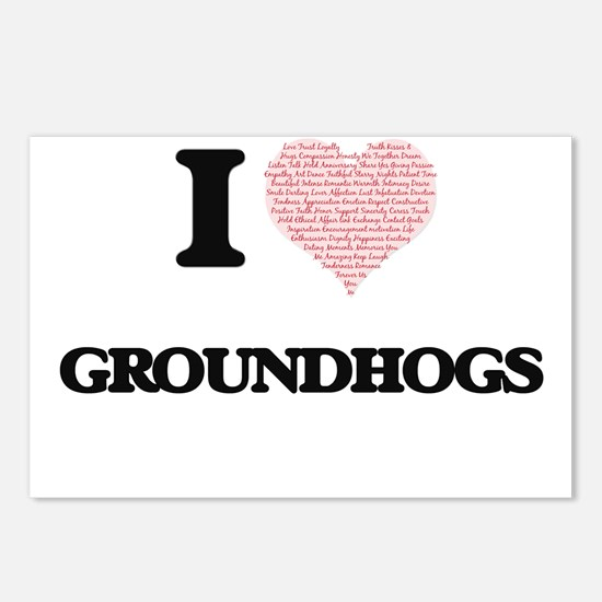 I love Groundhogs (Heart Postcards (Package of 8)
