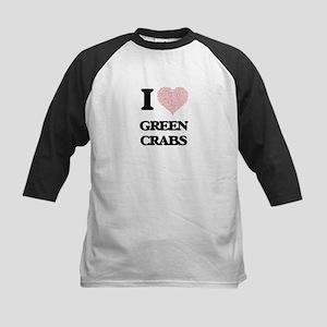 I love Green Crabs (Heart Made fro Baseball Jersey