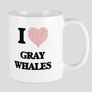 I love Gray Whales (Heart Made from Words) Mugs