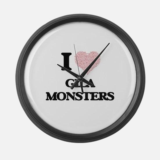 I love Gila Monsters (Heart Made Large Wall Clock