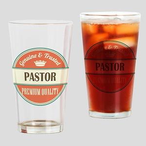 pastor vintage logo Drinking Glass
