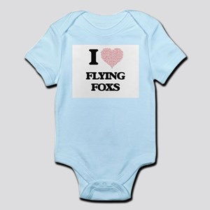 I love Flying Foxs (Heart Made from Word Body Suit