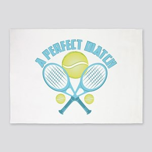 Tennis Racquet 5'x7'Area Rug