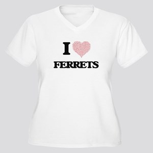 I love Ferrets (Heart Made from Plus Size T-Shirt