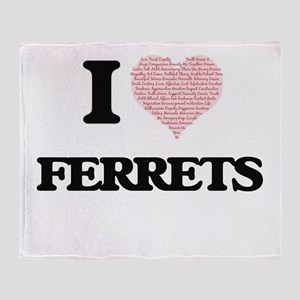 I love Ferrets (Heart Made from Word Throw Blanket