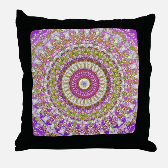 Pretty Hippy pink mandala Throw Pillow