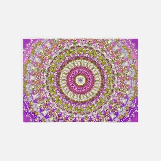 Pretty Hippy pink mandala 5'x7'Area Rug