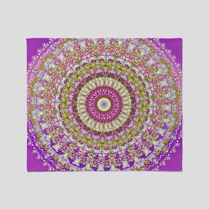 Pretty Hippy pink mandala Throw Blanket