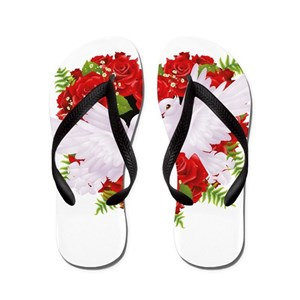 18cd833b0893b White Rose Flip Flops - CafePress