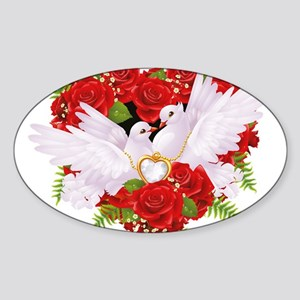 Love doves rose hearth Sticker