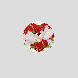Love doves rose hearth Mini Button