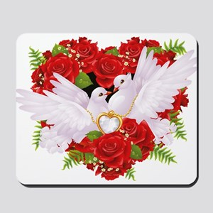 Love doves rose hearth Mousepad