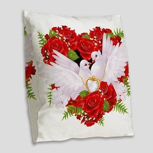 Love doves rose hearth Burlap Throw Pillow