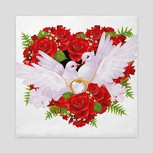Love doves rose hearth Queen Duvet