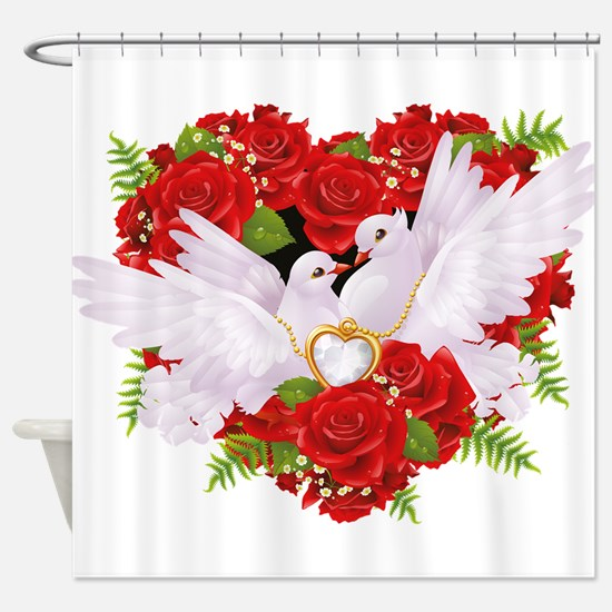 Love doves rose hearth Shower Curtain