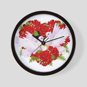 Love doves rose hearth Wall Clock