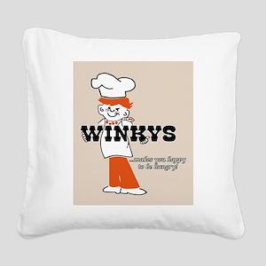 Winkys Hamburgers Logo Square Canvas Pillow