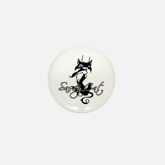 Black Sassy Cat Mini Button