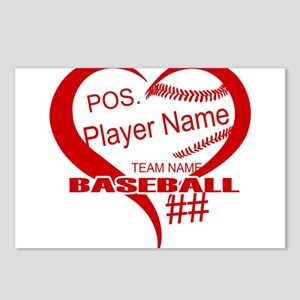 Baseball Heart Player Personalized Red Postcards (