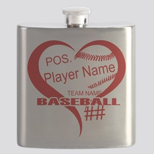 Baseball Heart Player Personalized Red Flask