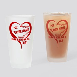 Baseball Heart Player Personalized Red Drinking Gl
