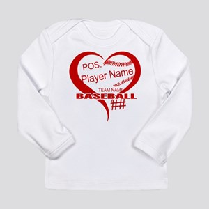 Baseball Heart Player Personalized Red Long Sleeve