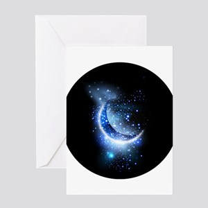 Awesome moon and stars Greeting Cards