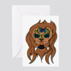 Sugar Cowardly Lion Skull Greeting Cards