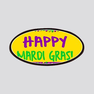 Happy Mardi Gras Crown and Beads Patch